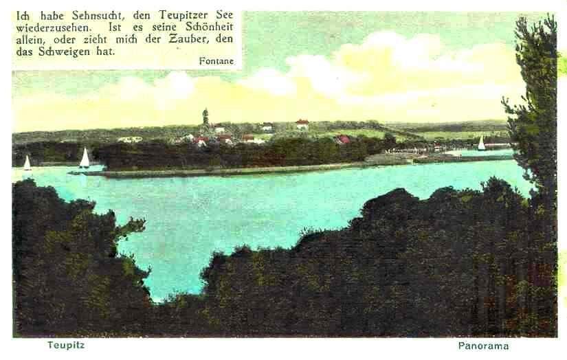 Postkarte um 1928 mit dem Wasserturm als Wahrzeichen der Stadt