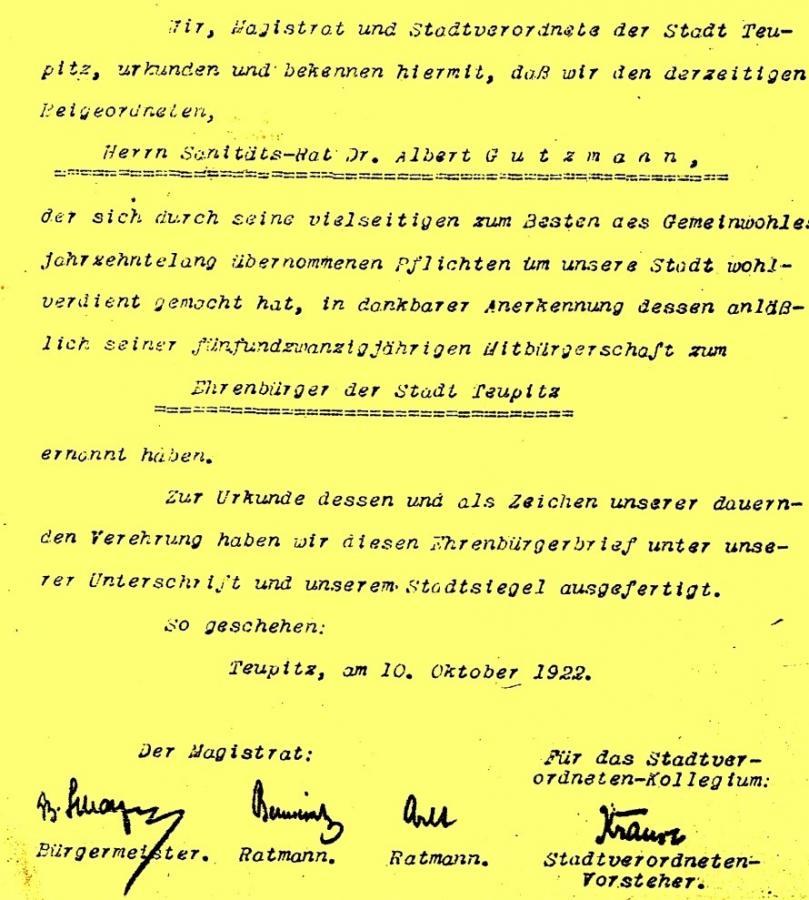 Verleihung der Ehrenbürgerschaft anlässlich des 25-jährigen Jubiläums als Bürger der Stadt  am 10. Oktober 1922