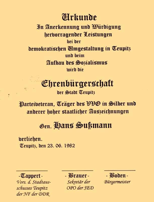 Verleihung der Ehrenbürgerschaft anlässlich seines 85. Geburtstags  am 23. Juni 1982