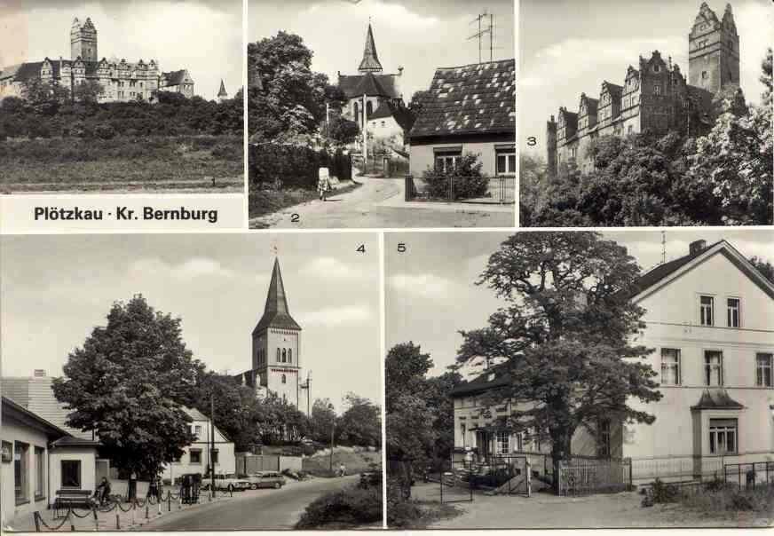 Schloss und Ort Plötzkau, Postkarte 1995