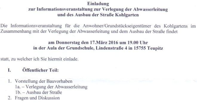 Einladung Informationsveranstaltung 17.3.2016
